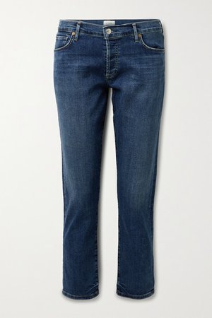Emerson Distressed Mid-rise Straight-leg Jeans - Mid denim