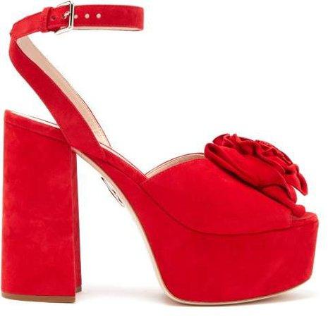 Rose Applique Suede Platform Sandals - Womens - Red