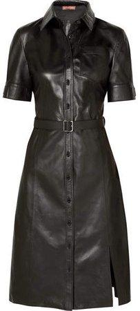 Kieran Belted Leather Dress - Black