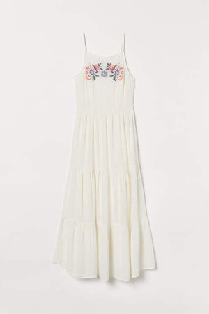 Embroidered Dress - White