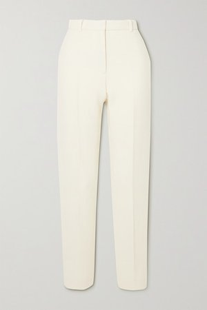 Wool-crepe Tapered Pants - Ivory
