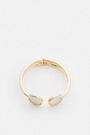 Gold Plated Stone Cuff Bracelet | Karen Millen