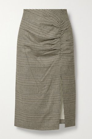 Tamic Ruched Checked Woven Midi Skirt - Brown