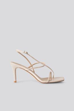Strappy Stiletto Sandals Beige   na-kd.com