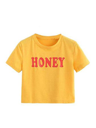 Amazon.com: Romwe Women's Casual Short Sleeve Cute Letter Slogan Print Crop Tee Top: Clothing