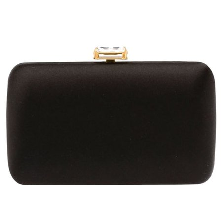Prada Black Satin Clutch with Stone Embellishment - Kate Middleton Bags - Kate's Closet