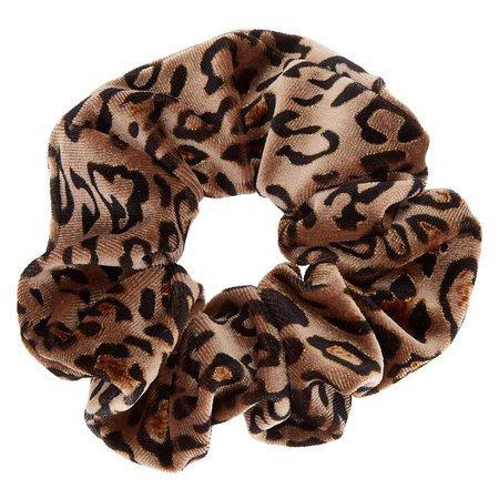 Medium Leopard Velvet Hair Scrunchie - Brown | Icing US