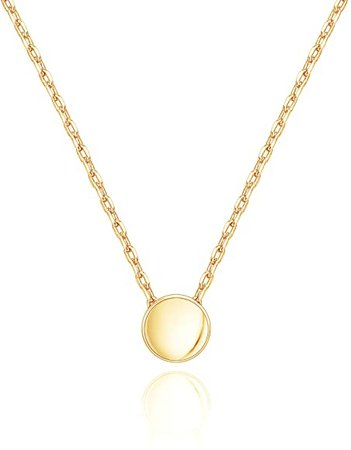 Amazon.com: PAVOI 14K Yellow Gold Plated Tiny Dot Necklace Round Circle Pendant Necklace | Yellow Gold Necklaces for Women: Jewelry