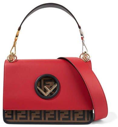 Kan I Embossed Leather Shoulder Bag - Red