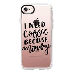 phone case - I Need Coffee Because Monday - Rose Gold