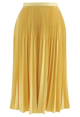 Solid Color Pleated A-Line Midi Skirt in Mustard - Retro, Indie and Unique Fashion