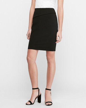 High Waisted Fold-Over Waistband Pencil Skirt