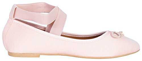 'Epic Step Women's Classic Ballet Flats with Elastic Cross Ankle Straps, Blush, Size 9' - Pink Love StoryPink Love Story