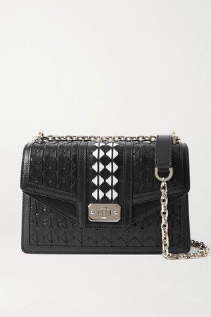 Diamante Woven Leather Shoulder Bag - Black