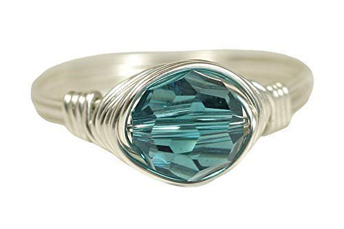 Amazon.com: Teal Blue Ring - Sterling Silver or Gold Filled Wire Wrapped Indicolite Swarovski Crystal Handmade: Handmade