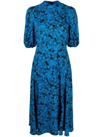 Shop black & blue DVF Diane von Furstenberg Nella midi dress with Express Delivery - Farfetch