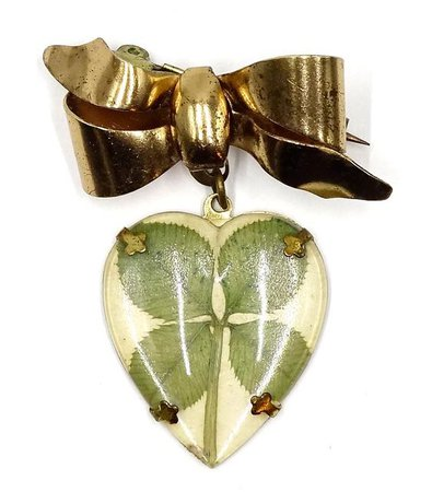 Vintage Real Four Leaf Clover Bow Pin