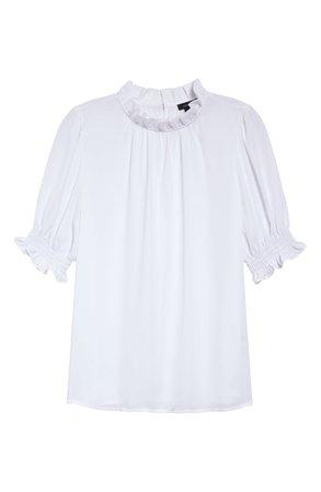 Halogen® Smocked Sleeve Top (Regular & Petite) white