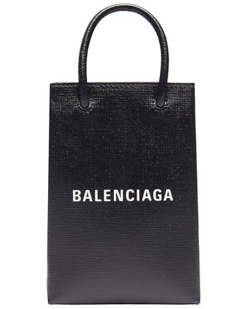 Balenciaga Shopping Phone on Strap Bag in Black | FWRD