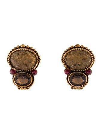 Stephen Dweck Smoky Quartz & Garnet Clip-On Earrings - Earrings - STD23828 | The RealReal