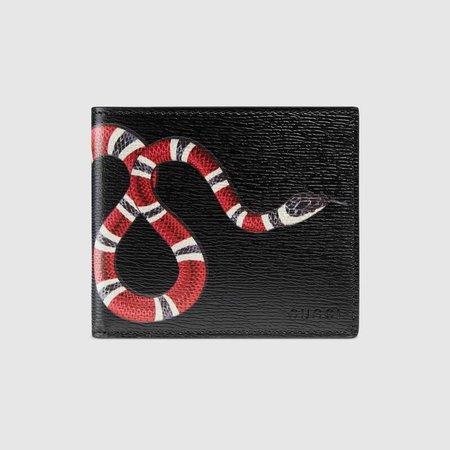 Black Leather Kingsnake print leather wallet | GUCCI® US