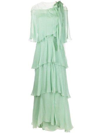 Alberta Ferretti floor-length Ruffled Chiffon Dress - Farfetch