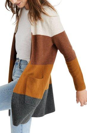 Madewell Kent Colorblock Long Cardigan (Regular & Plus Size)   Nordstrom