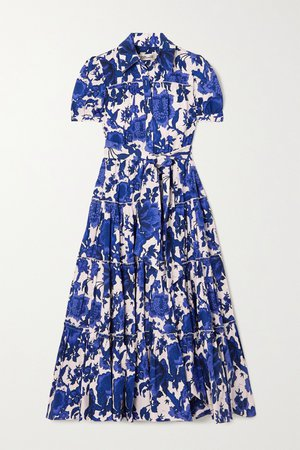Navy Queena belted tiered floral-print cotton-poplin midi shirt dress | Diane von Furstenberg | NET-A-PORTER