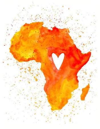 Orange Africa Map Art