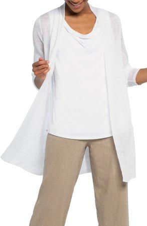 Open Front Linen Blend Long Cardigan