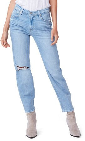 Noella High Waist Ripped Straight Leg Jeans