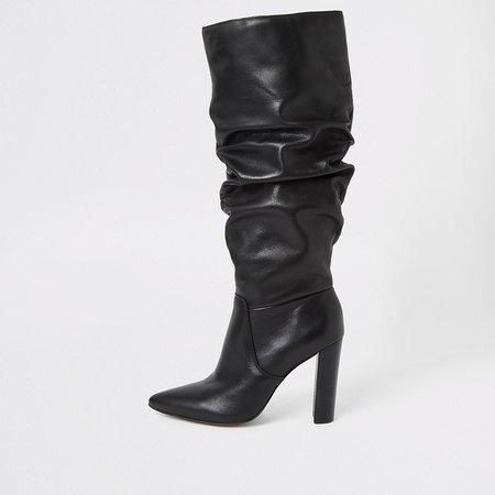 Black leather slouch heel boot | River Island