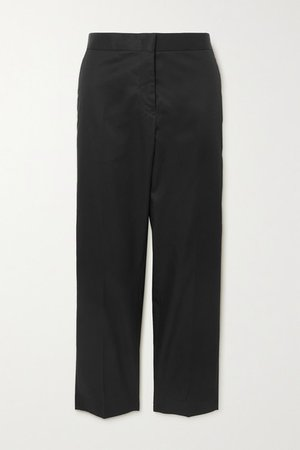Cropped Cotton-gabardine Straight-leg Pants - Black