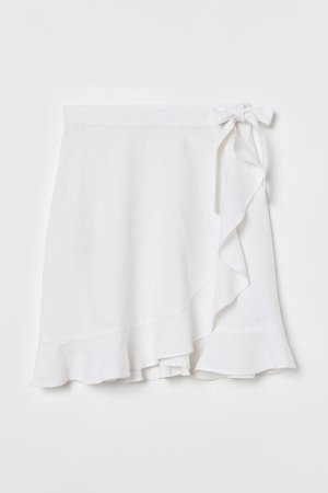 Linen-blend Wrap Skirt - White