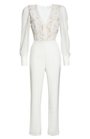 Adelyn Rae Farrah Lace Bodice Long Sleeve Crepe Jumpsuit | Nordstrom