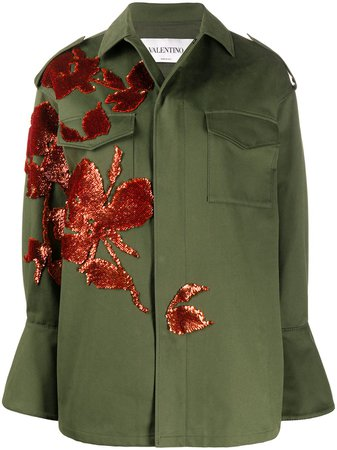 Valentino, floral-embroidery Military Jacket