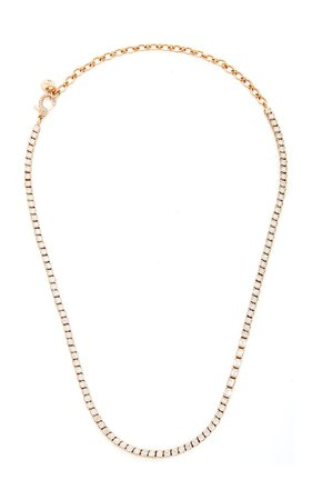 18K Rose Gold Diamond Tennis Necklace with Baguette Accent by Shay | Moda Operandi