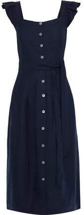 Pleated Linen And Tencel-blend Midi Dress