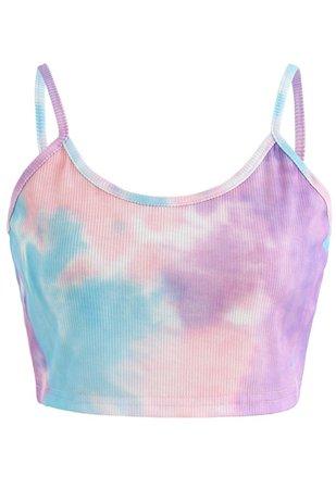 Tie-Dye Crop Tank Top in Purple - Retro, Indie and Unique Fashion