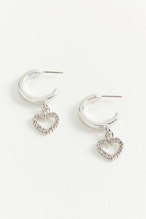 Rhinestone Heart Charm Mini Hoop Earring | Urban Outfitters