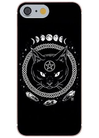 Black cat witch phone case