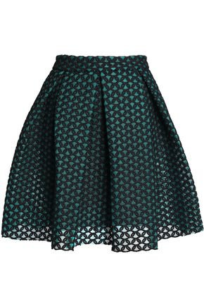 Pleated embroidered mesh mini skirt | MAJE |