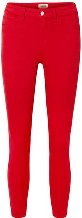 Margot Cropped High-rise Stretch Skinny Jeans - Red
