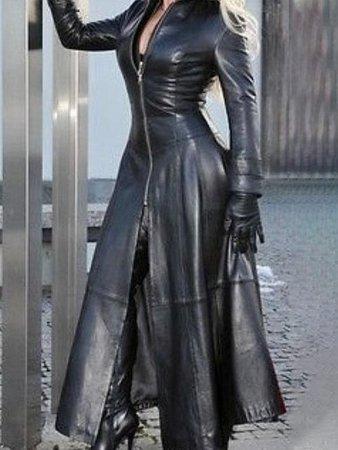 Faux Leather Front Zip Long Coat