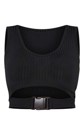 Shape Black Ribbed Buckle Waist Crop Top
