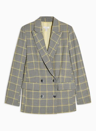Gray and Yellow Check Double Breasted Blazer | Topshop