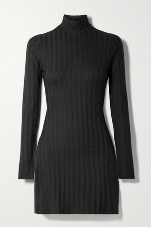 Libra Ribbed Stretch-tencel Lyocell Turtleneck Mini Dress - Black
