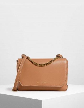 Tan Chain Handle Shoulder Bag   CHARLES & KEITH NZ