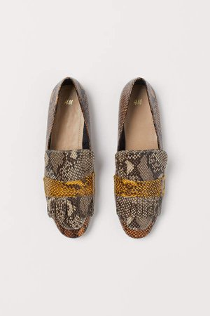 Snakeskin-patterned Loafers - Beige