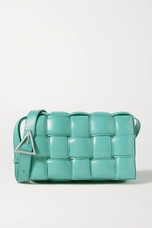 Cassette Padded Intrecciato Leather Shoulder Bag - Blue